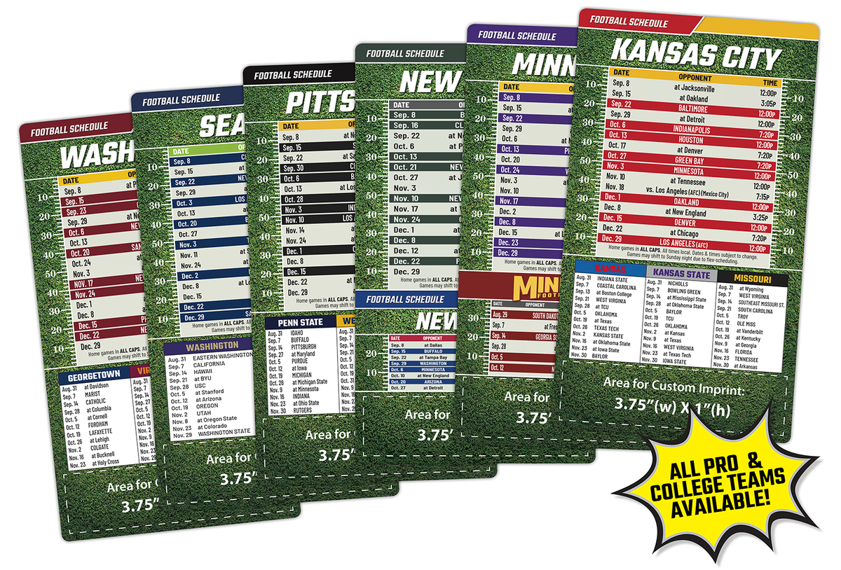 Magnetic Football Schedules + Your Customized Message = a Winning Combination!