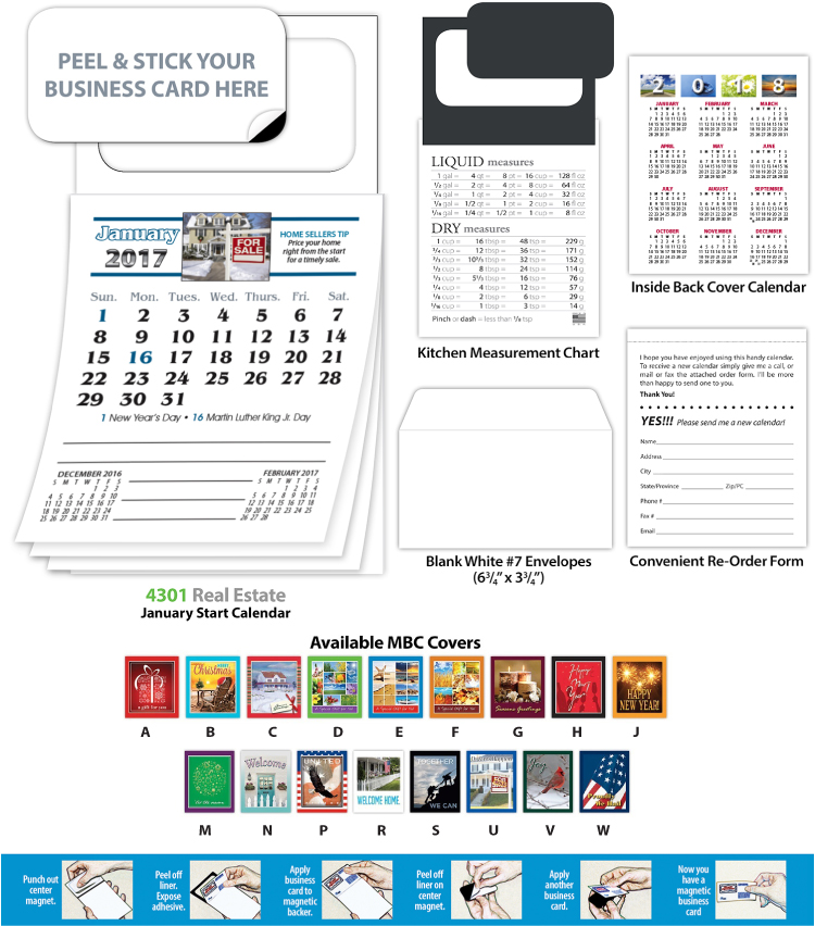 Peel n\' Stick Business Card Magnet with Calendar