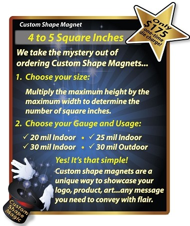 Custom Shape Magnet - 4 to 5 Square Inch