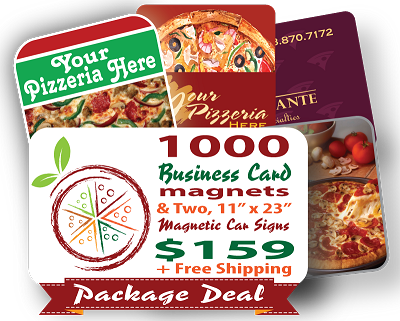 PIZZA PACKAGE - 1,000 Business Card Magnets + 2 Delivery Car Magnets