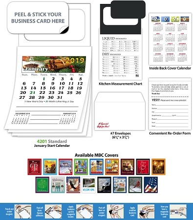 Magna-Cal Peel 'N Stick Business Card Magnet With Calendar