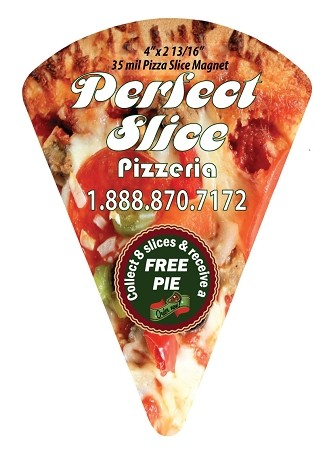 "Pizza Slice Magnet - (EXTRA-LARGE) - 4"" x 2.8125"""